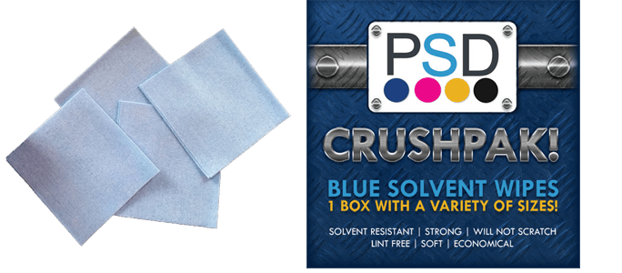 CRUSHPAK! Blue Solvent Wipes